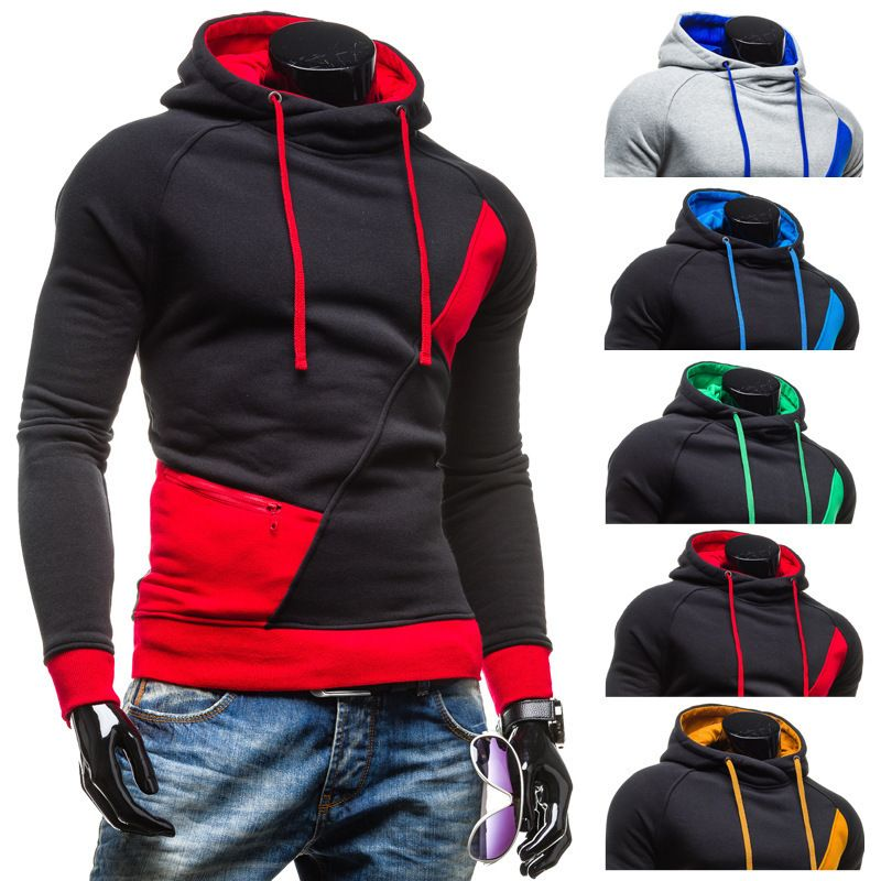 2015 Spring Fashion New Contract Color Hoodies Sweatshirts Men ...