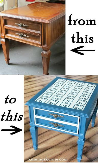 I Quot Eyeballed It Quot End Table Stenciled Top Refurbished