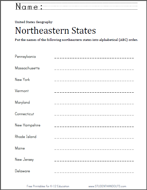 Northeastern States in ABC Order | Free printable worksheet ...