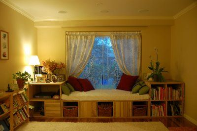 Using bookcases to make a window seat