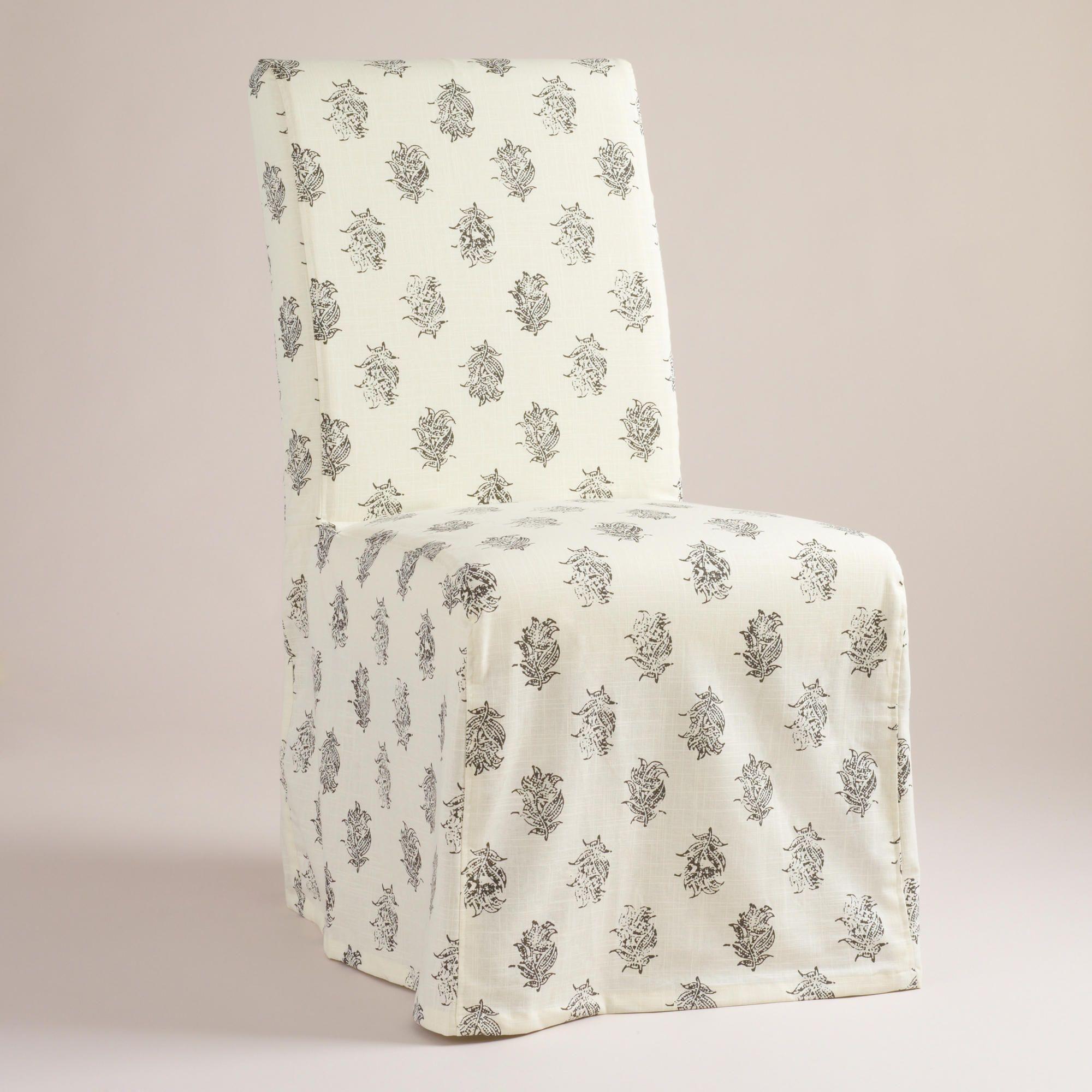 Block Print Long Anna Chair Slipcover Slipcovers for