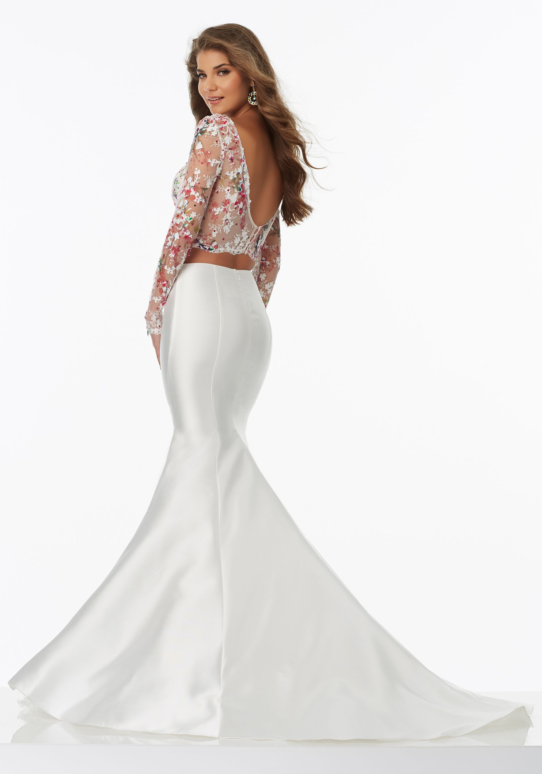 Twopiece prom dress with larissa satin mermaids skirt net top