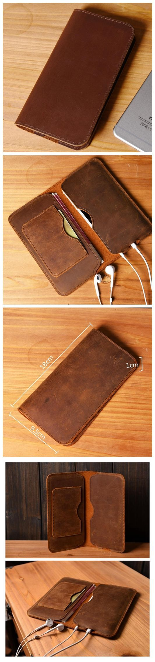This handmade iPhone 6s wallet case is made from full grain distressed leather. We also make it for most iPhone and Samsung smartphones. This makes for an awesome, super unique gift idea. Leather Wall Get leather wallets at 90% off wholesale price. #leatherwallets