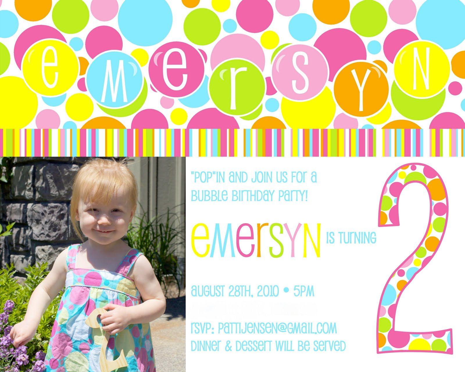 Birthday Invitations Bubbles