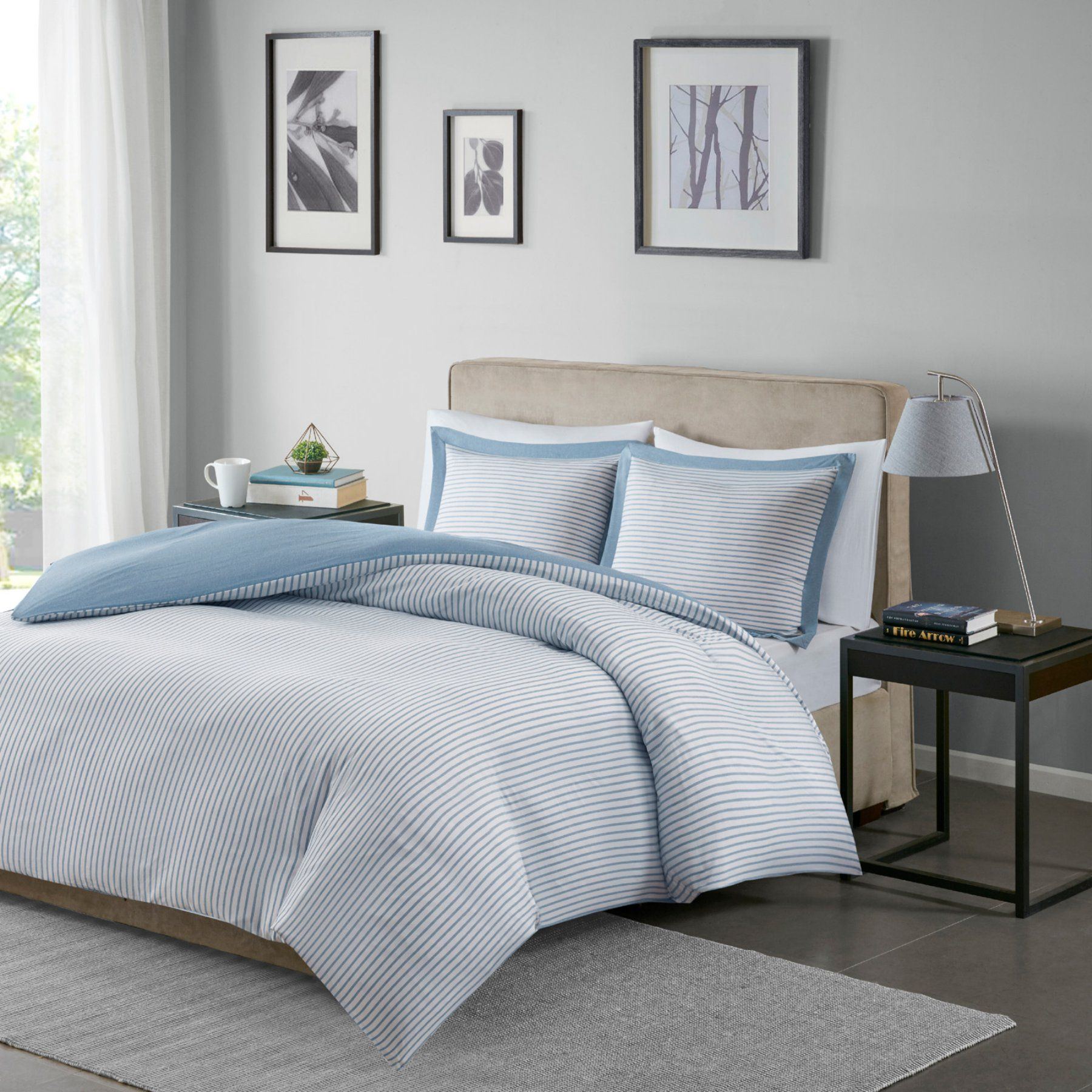 Hayden Reversible Stripe Duvet Cover Mini Set By Madison Park
