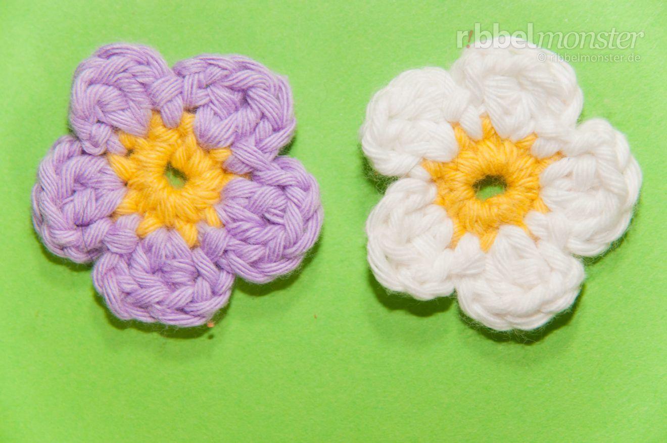 Photo of Häkelblume – kleine 5-Blütenblatt-Blume – Muster, Häkelmuster – Premium …