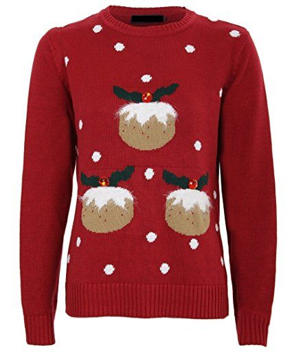 Pudding Christmas Jumper Ladies Women/'s Xmas Knitted Unisex Pudding Jumper