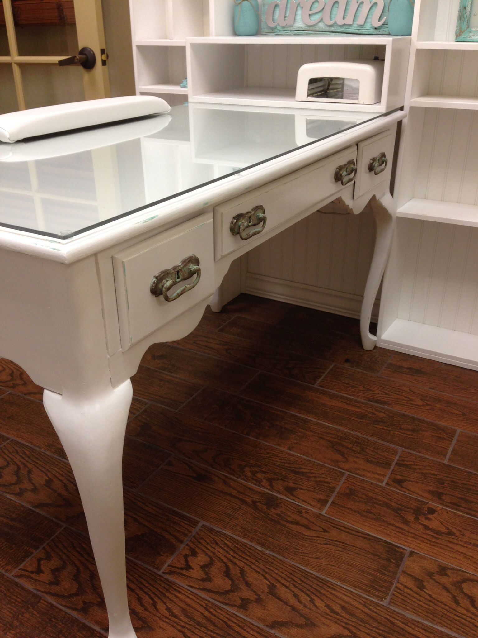 Shabby distressed queen ann desk converted into a fabulous chic nail station  Favorite Places