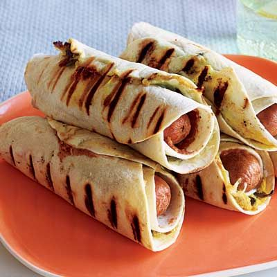 Pigs in Ponchos--Rachael Ray recipe for hot dogs, tortillas, and refried beans  Oh my word what a name lol