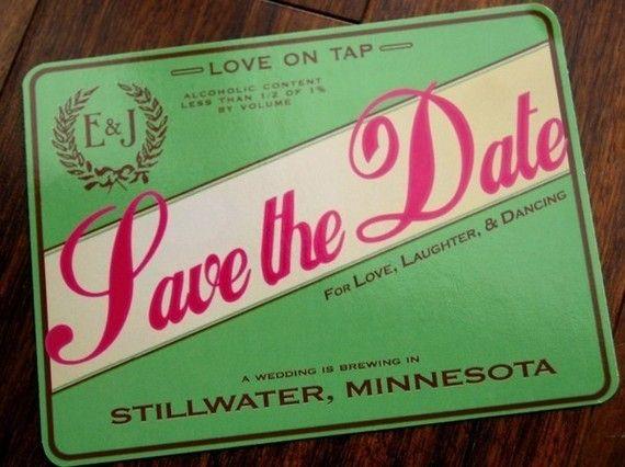 Save the Date Vintage Beer Label Microbrewery by PowerhousePaper, $1.95