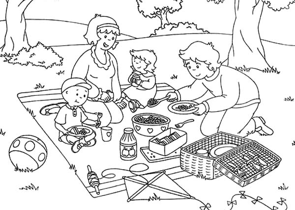 Caillou Family Open Their Picnic Food Coloring Page Coloring Sun Food Coloring Pages Coloring Pages Family Coloring Pages