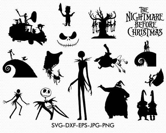 The nightmare before christmas silhouettes svg, The nightmare before