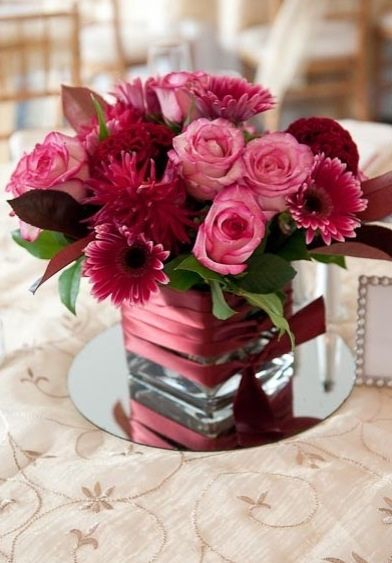 Burgundy and pink centerpieces google search