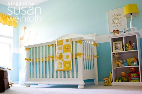 Blue and Yellow Nursery by Susan Weinroth. More photos at http://susanweinroth.typepad.com/a_little_bit_of_me/2010/05/a-look-at-the-nursery.html