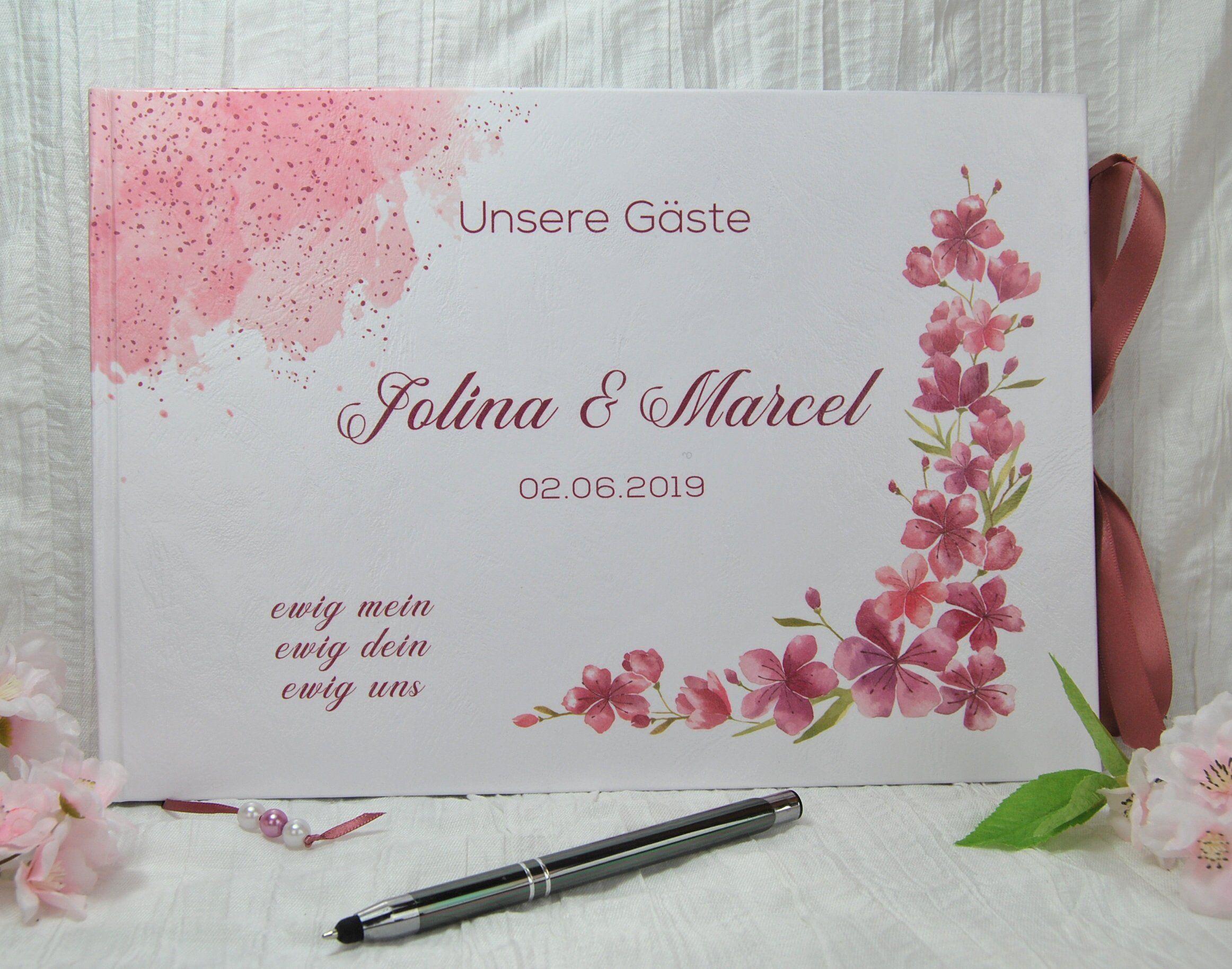 Personalisiertes Gastebuch Hochzeit Kirschblute Fragen Fragebogen Gastefragen Name Floral Rosa Altrosa Koralle Pfirsisch Boho Vintage Hippie Book Cover