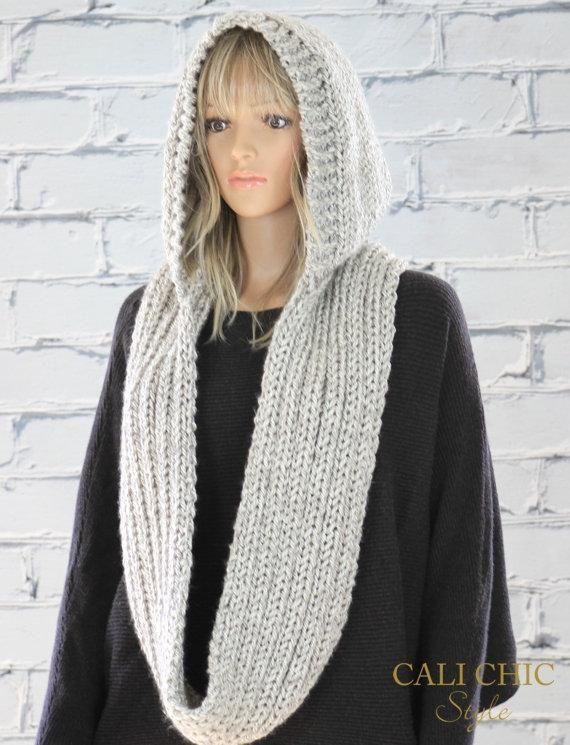 Hooded Scarf Pattern, Celine Knit Hooded Infinity Scarf Pattern #802 ...