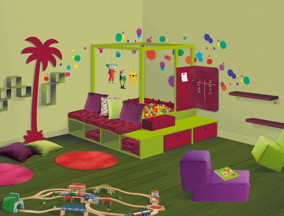 cabane balles et banquette chambres d 39 enfants et salles de jeux pinterest balles. Black Bedroom Furniture Sets. Home Design Ideas