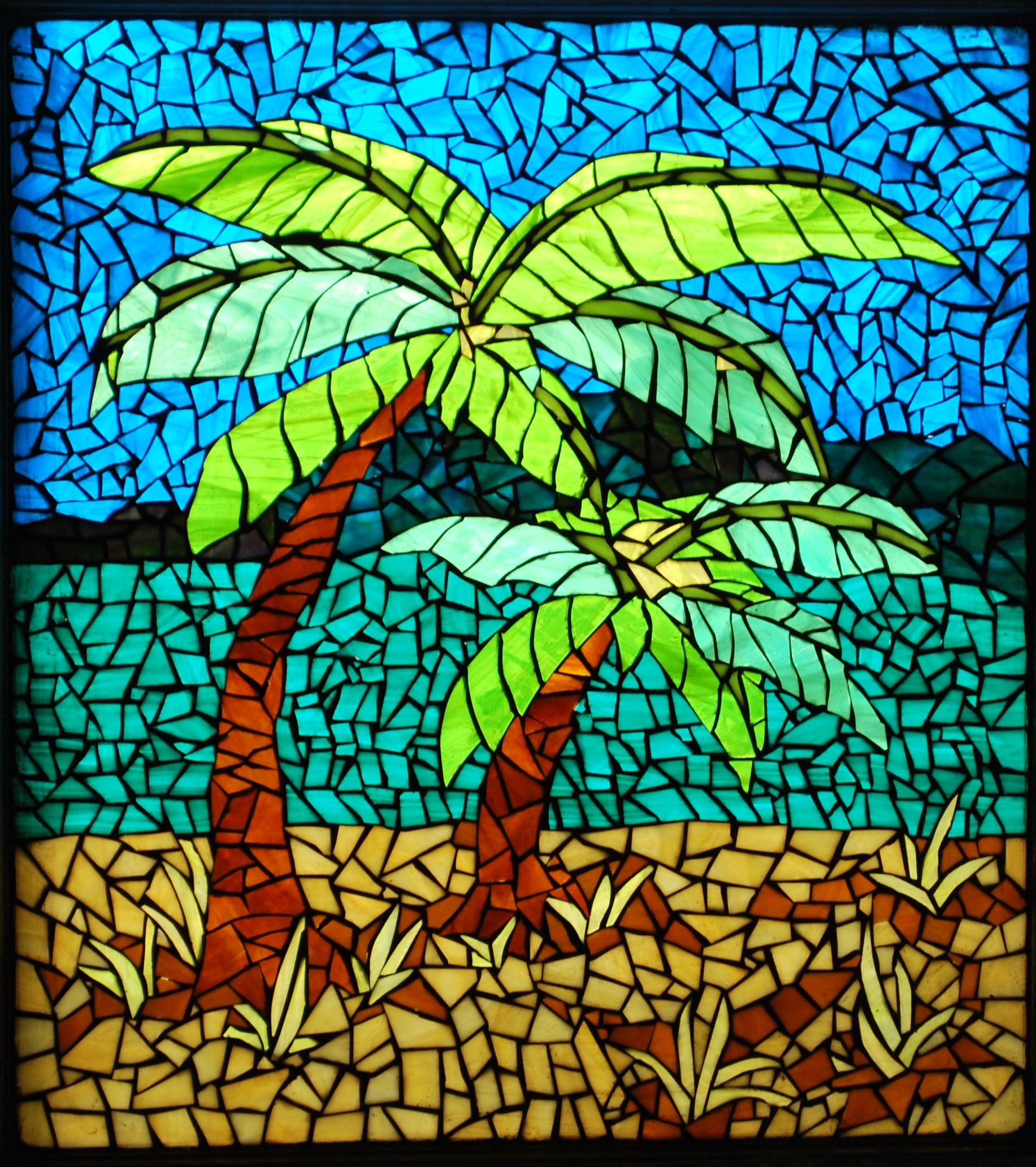 About 20 X 24 Palm Trees Grouted And Back Lit In The