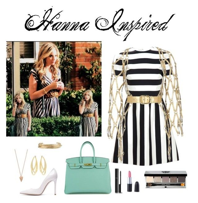 """Hanna Inspired"" by mirberry-s on Polyvore featuring Valentino, Zana Bayne, Gianvito Rossi, Hermès, Pamela Love, Jennifer Fisher, Swarovski, Chanel and Bobbi Brown Cosmetics"