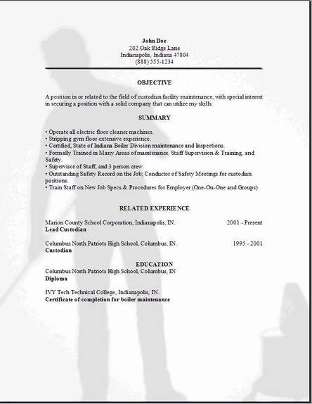 Custodian Resume Examples Samples Free Edit With Word Resume Examples Cover Letter For Resume Resume