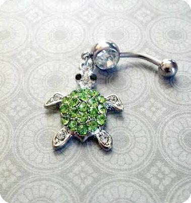 Turtle belly button piercing