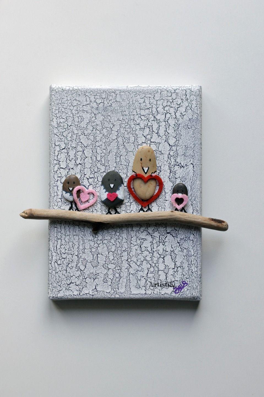 Tableau galets oiseaux bois flott c urs roses et fuchsia for Tableau bois flotte