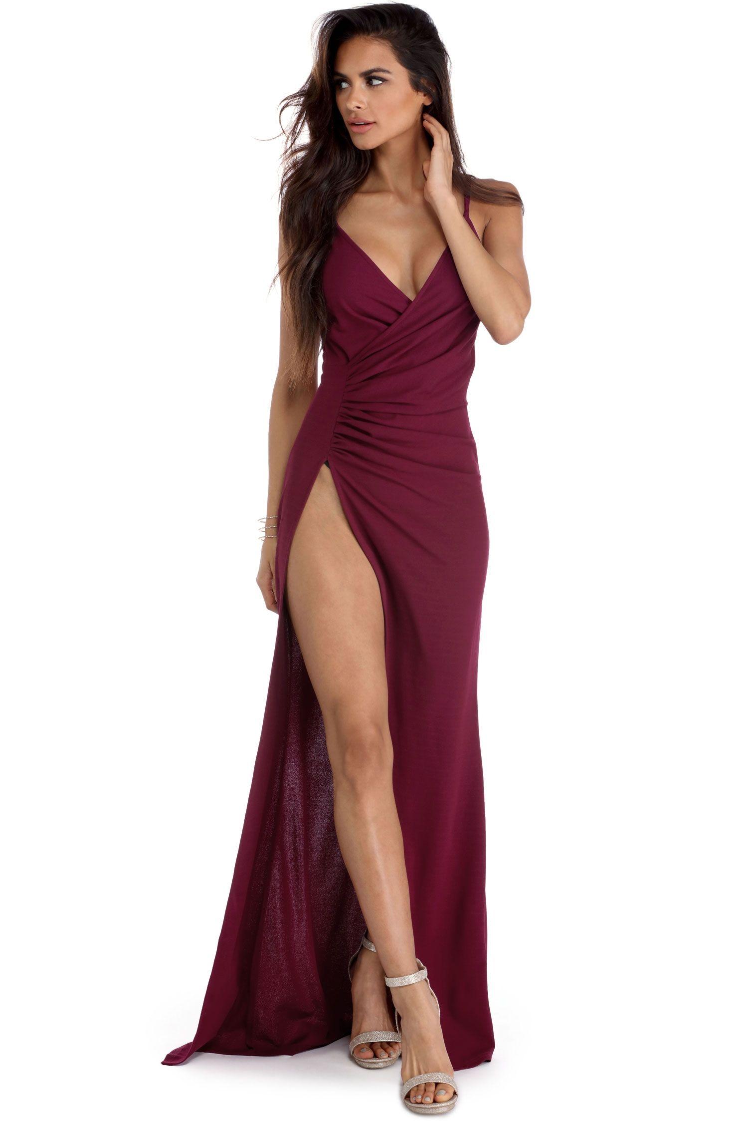 Leda Burgundy High Slit Dress