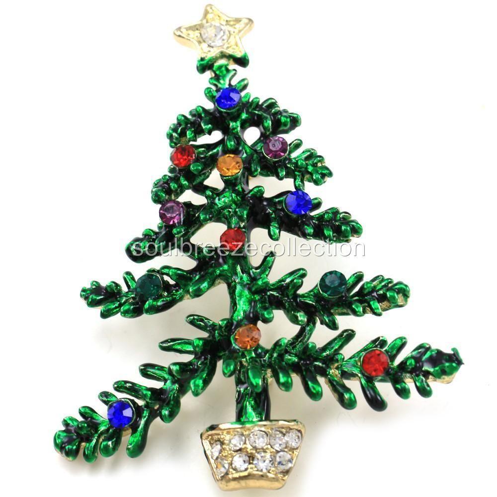 Happy Colorful Xmas Christmas Tree Brooch Pin Multicolor Crystal ...