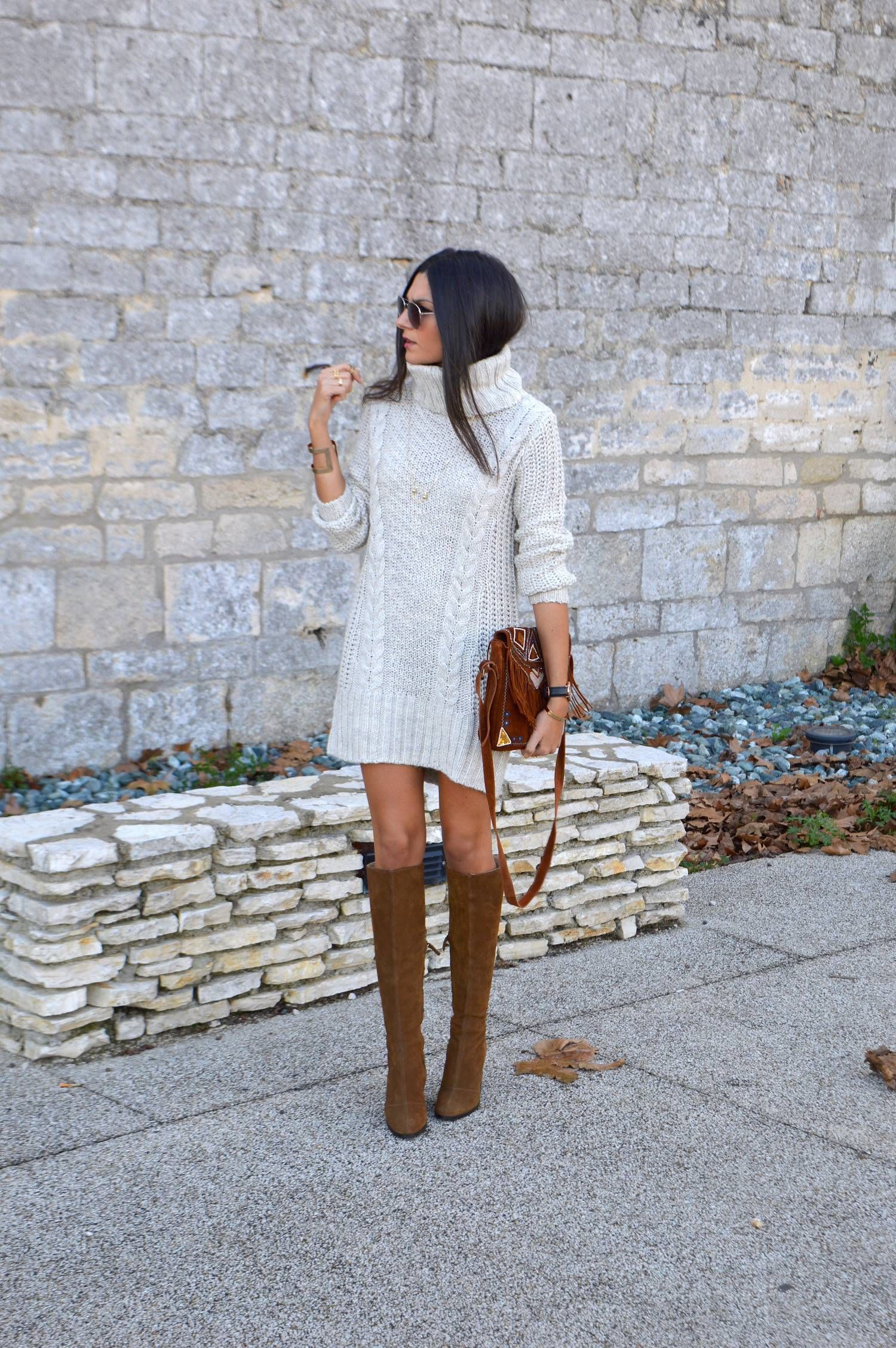 Fall winter style chunky knit sweater dress tall suede boots