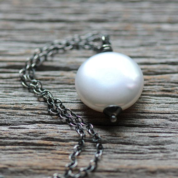 June Birthstone Large Coin Pearl Necklace on by JarosDesigns