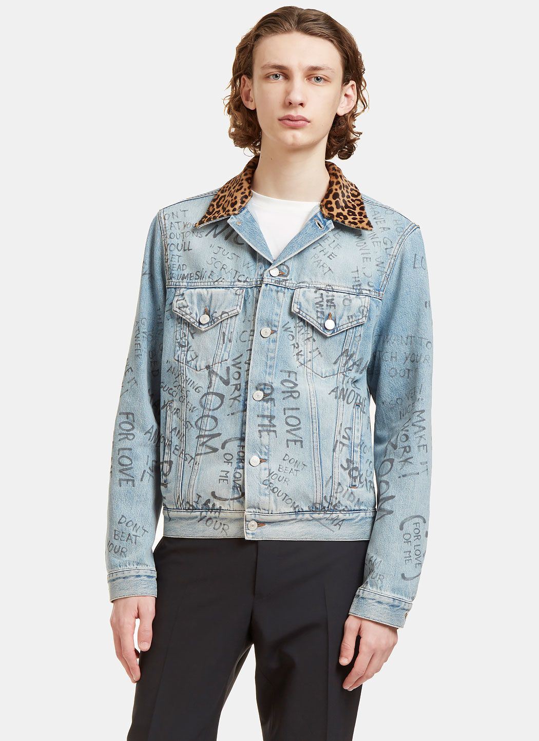 cd6637fda GUCCI Men'S Leopard Print Collared Graffiti Denim Jacket In Blue. #gucci  #cloth #