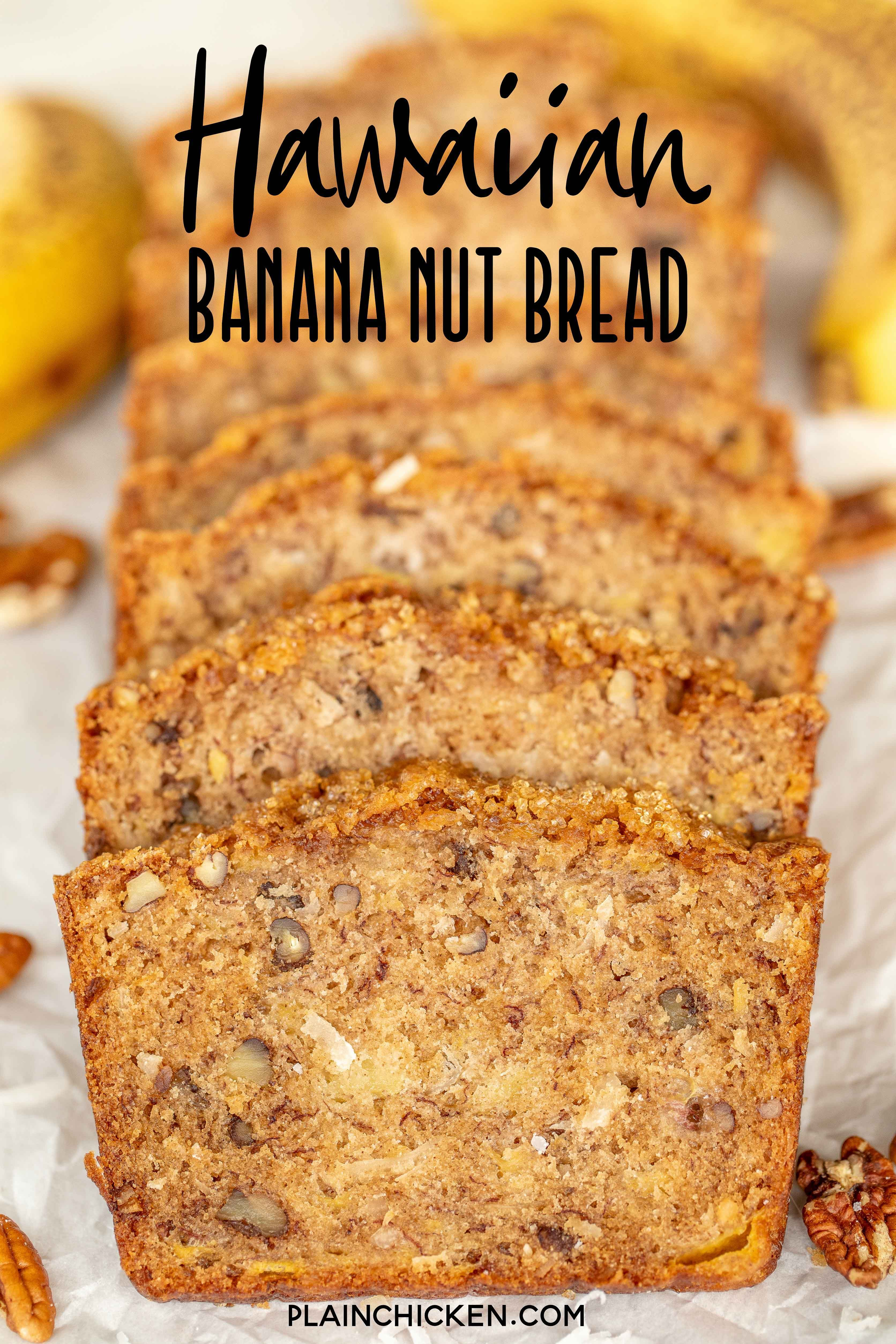 Hawaiian Banana Nut Bread Loaded With Pineapple And Coconut Seriously Delicious Can M In 2020 Banana Nut Bread Banana Nut Bread Recipe Hawaiian Banana Bread Recipe