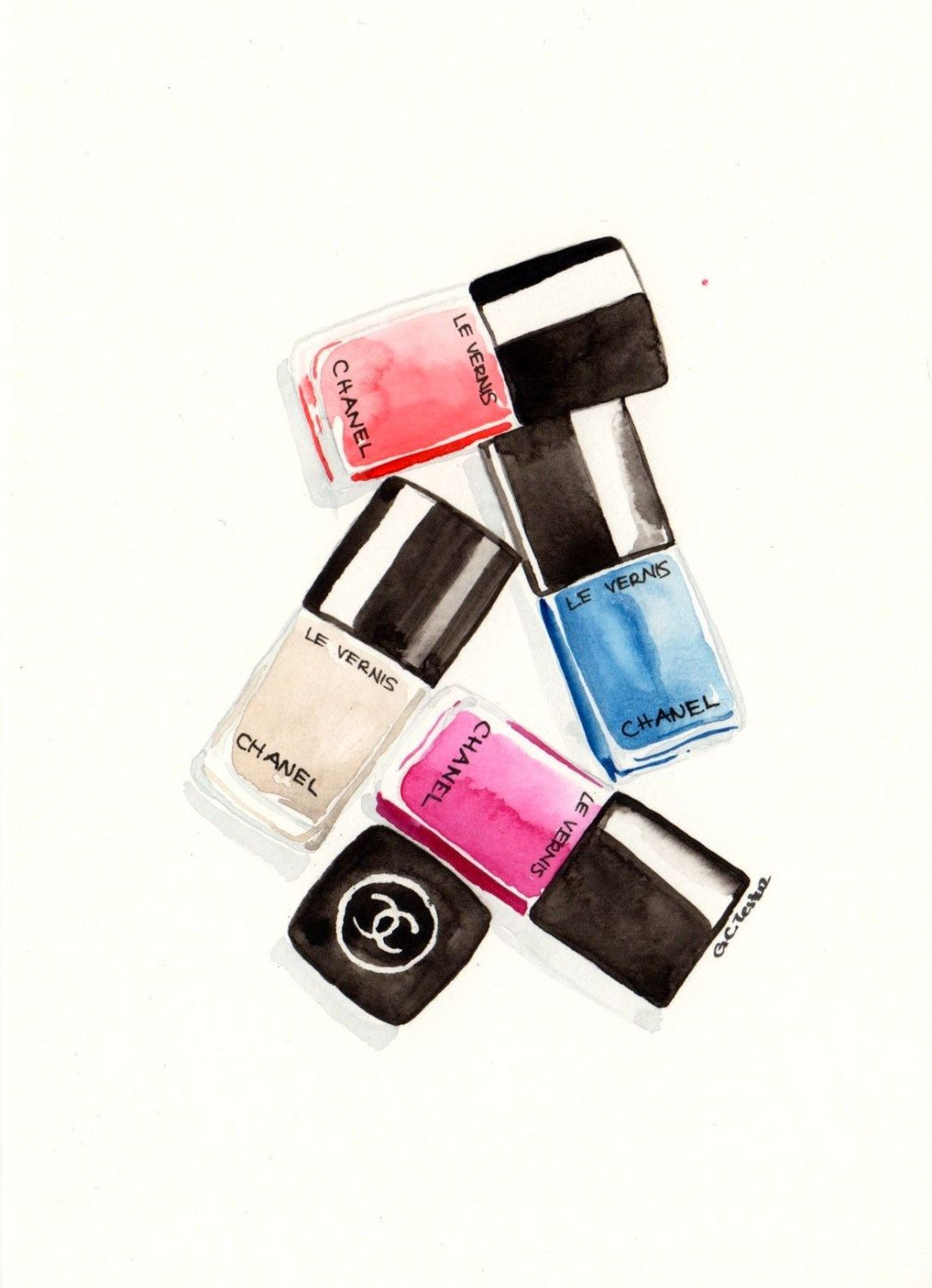 Chanel nail polishes Watercolor Make-Up illustration by MilkFoam