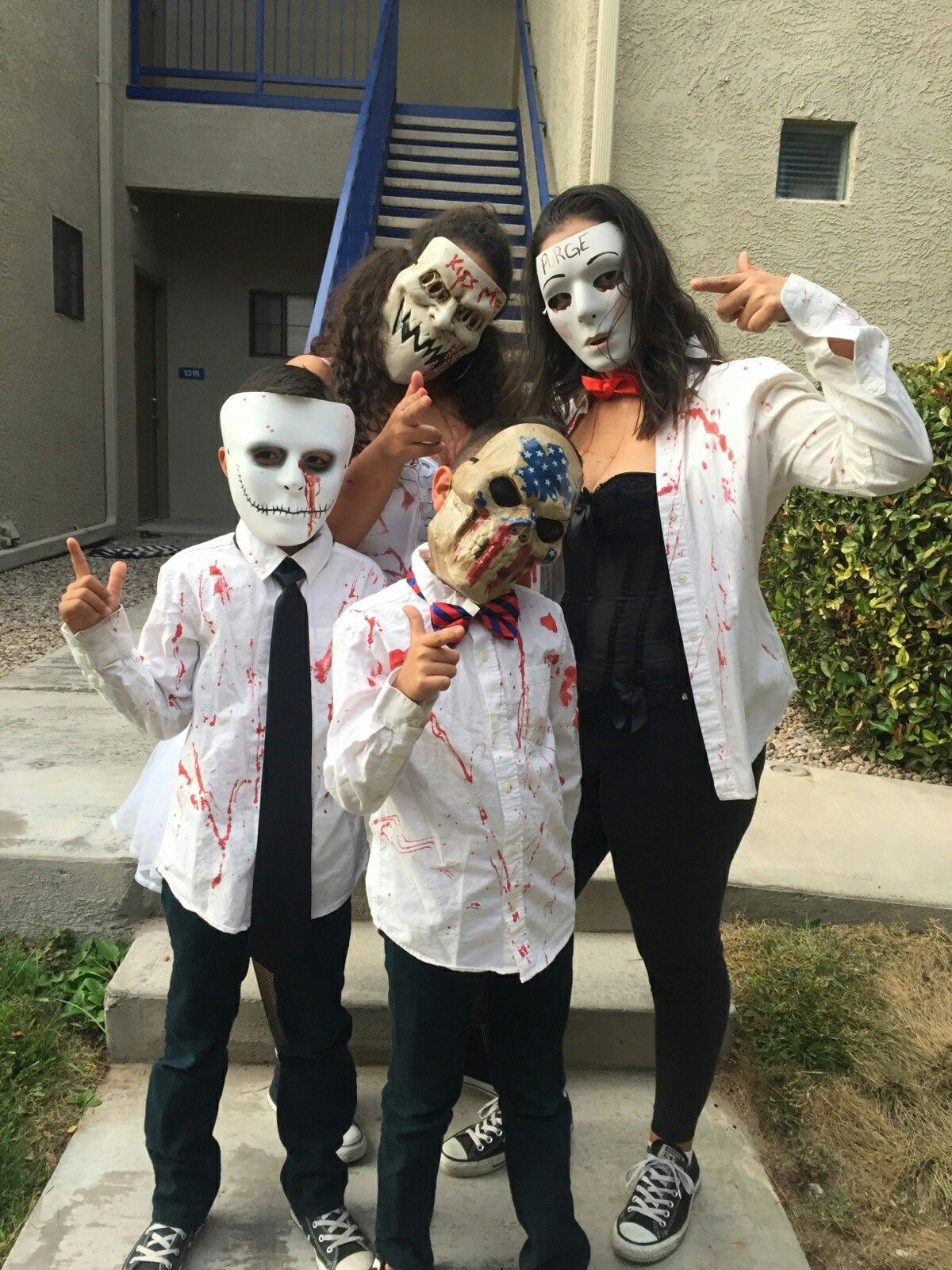 bloody halloween costume. the purge election year. family