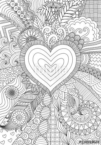 Vector Zendoodle Design Of Heart Shape On Abstract Line Art Background Design For Background Weddin Abstract Line Art Heart Coloring Pages Love Coloring Pages