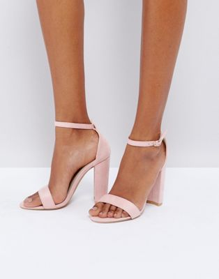 0995f342728 Glamorous Blush Barely There Block Heeled Sandals en 2019 | Shoes ...
