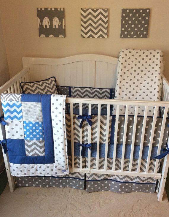 Baby Boy Cribs: DEPOSIT Baby Boy Crib Bedding Denim Blue By