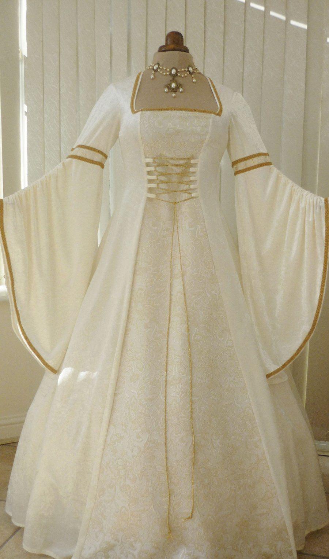 Medieval Renaissance Pagan Cream And Gold Wedding Dress Dawns