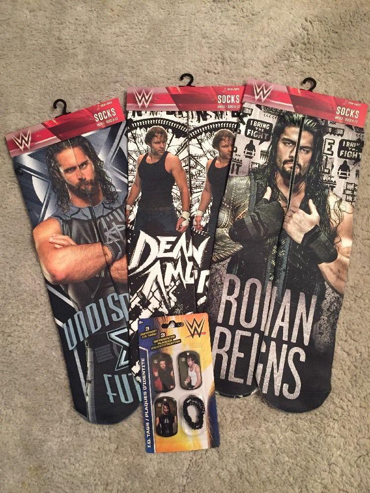 WWE DEAN AMBROSE SETH ROLLINS ROMAN REIGNS PAIR OF SOCKS DOG TAG LOT THE  SHIELD!