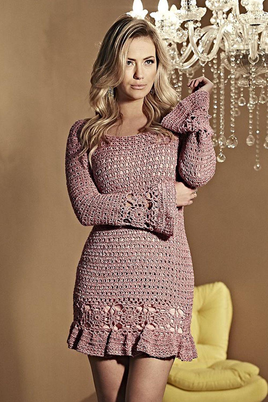Receitas Círculo - Vestido Chic Rosa | Vestidos de crochê ...