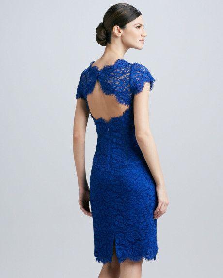 Cobalt Blue Lace Dress Dresses Tail Ml Monique Lhuillier