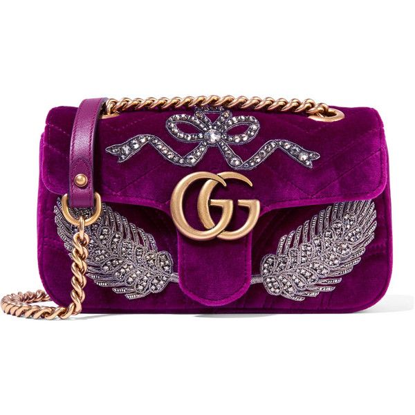 f04f92d5653b36 Gucci GG Marmont small embellished velvet shoulder bag ($3,300) ❤ liked on  Polyvore featuring bags, handbags, shoulder bags, plum, velvet purse, ...