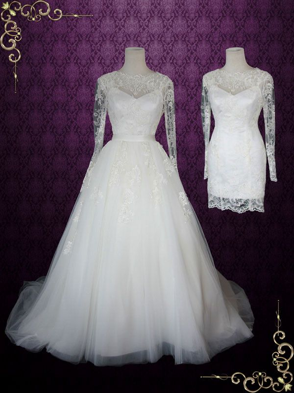 Convertible Lace Wedding Dress With Open Back Long Sleeves And