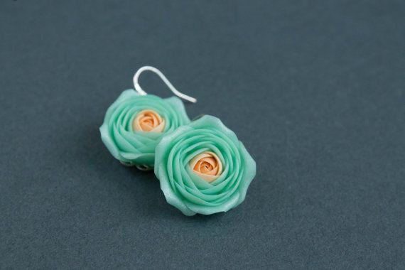 Minte Orange Flowers Ranunculus Earrings by eteniren on Etsy, $15.00