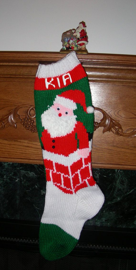 This vintage knitted Christmas stocking pattern has Santa coming ...
