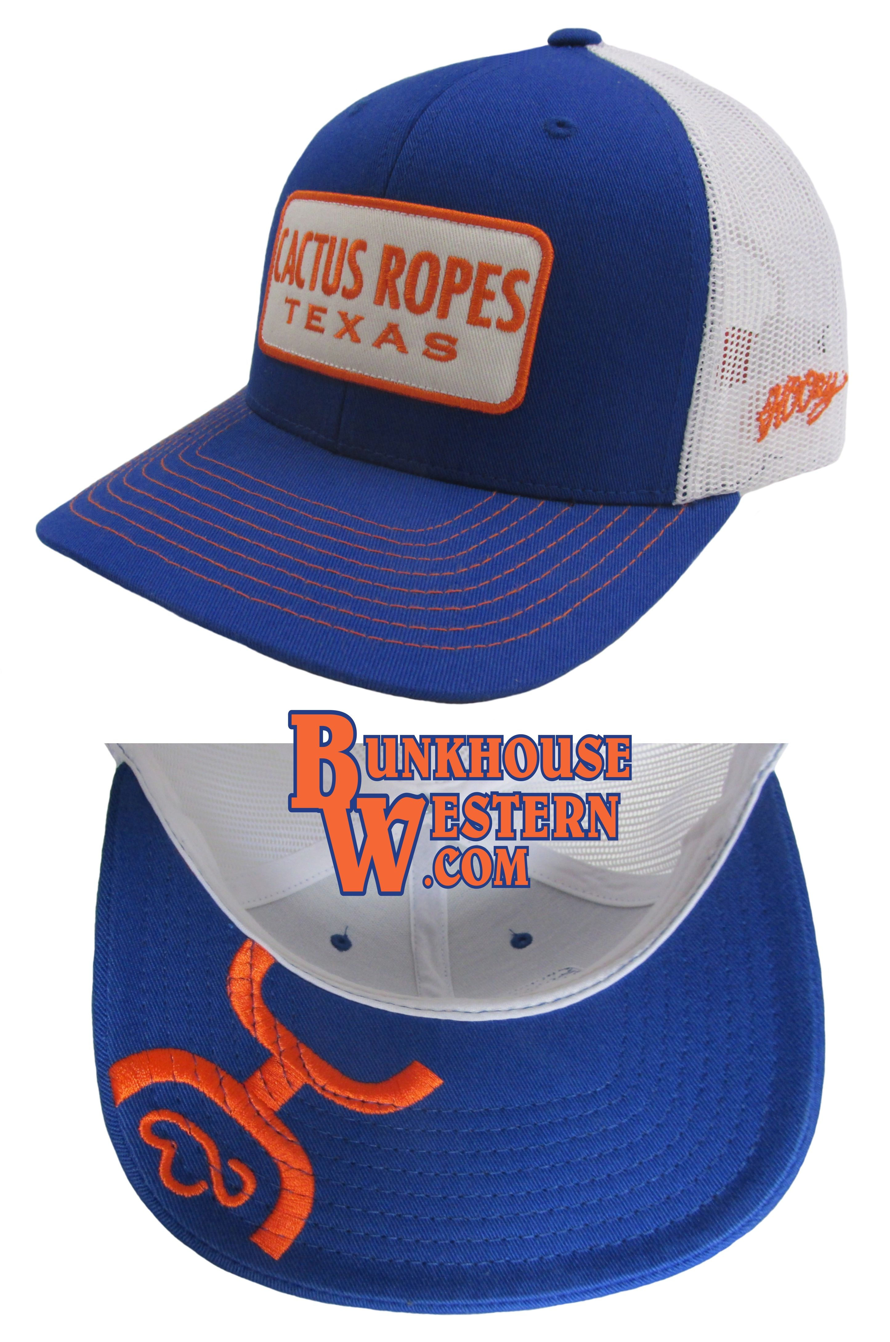 huge discount 21b43 65d9e Cactus Ropes Texas, Blue  amp  Orange Hooey Trucker Cap, Team Roping, Rodeo