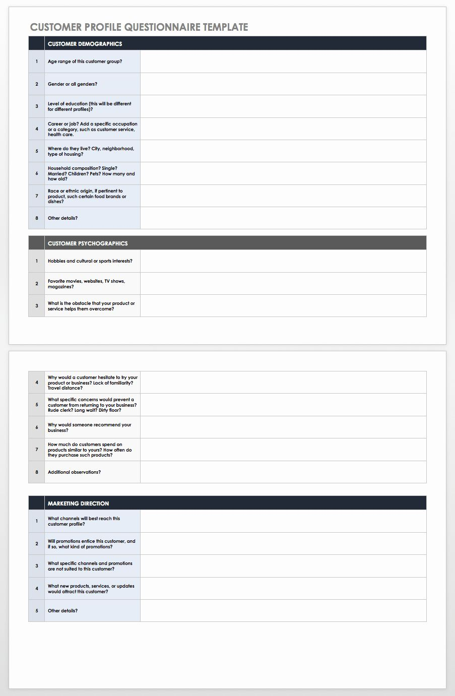 Customer Profile Template Excel Beautiful Free Customer