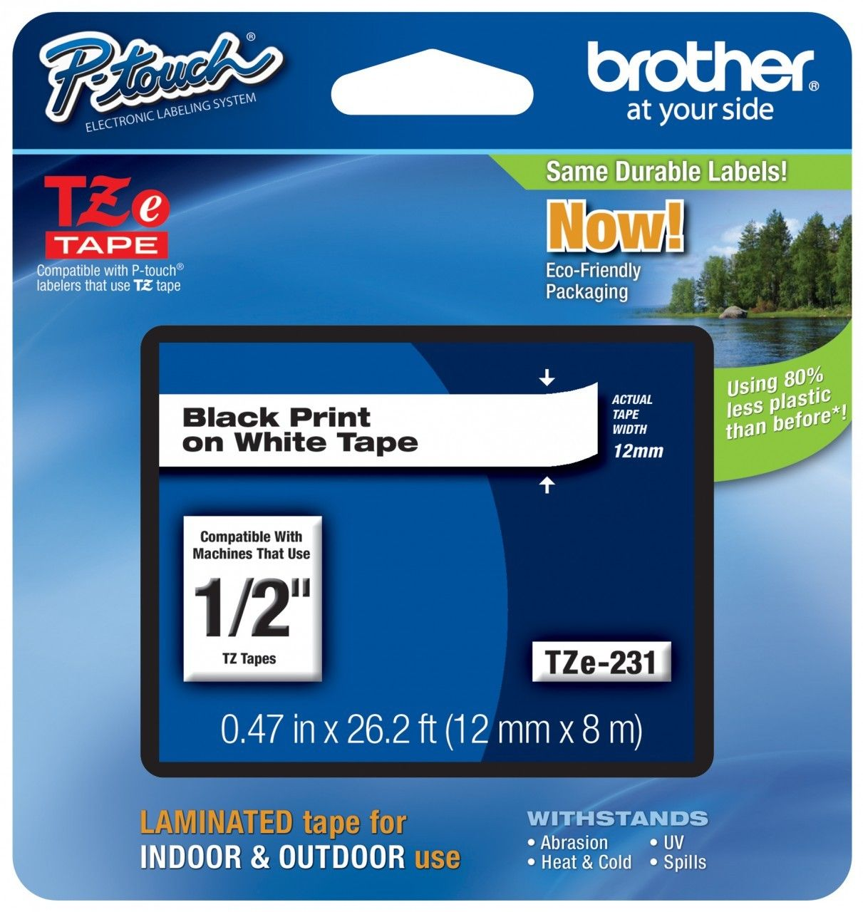Brother Tze 231 1 2 In Black On White P Touch Label Tape 12mm Tz 231 Free Shipping Label Maker Tape Label Printer Black Tape