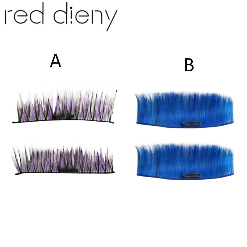 New Colorful Handmade Reusable Magnetic Fake Eyelashes Cross Thick
