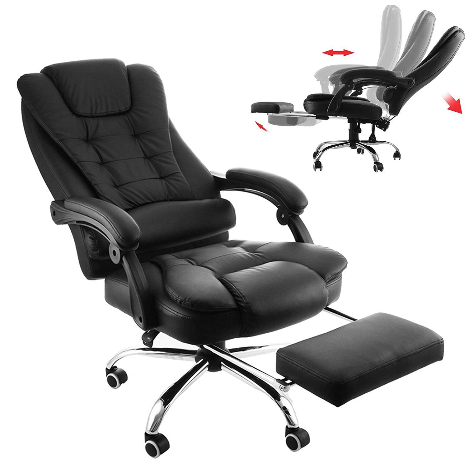 Computer Chair With Footrest in 8  Reclining office chair